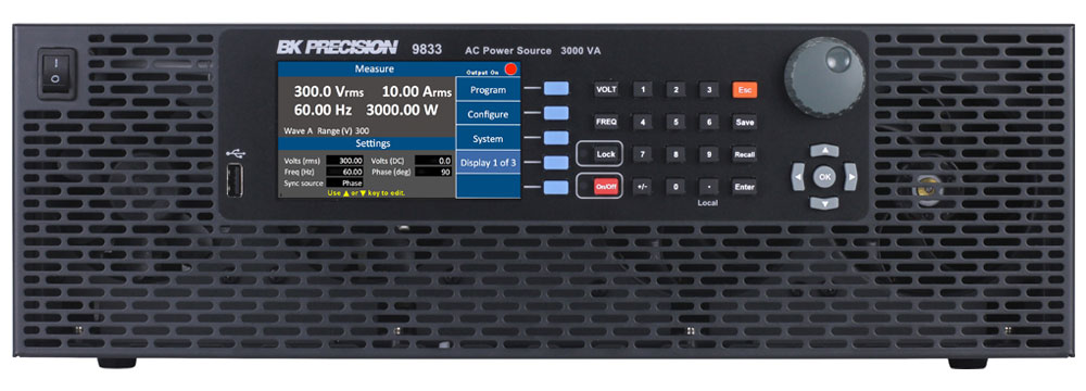 BK Precision 9830 Series Programmable AC Power Sources up to 3000 VA