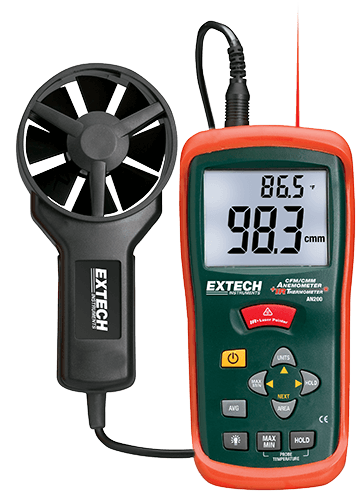 Extech AN200 CFM/CMM Mini Thermo-Anemometer with built-in InfraRed Thermometer
